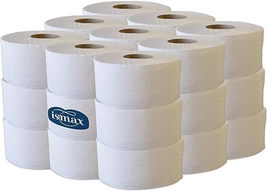 Ismax Rollos Papel Higiénico Industrial Reciclado Baño WC Pack 18 ...