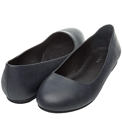 e70d45d985f3 Luoika Women s Wide Width Flat Shoes - Comfortable Slip On Round Toe Ballet  Flats. (