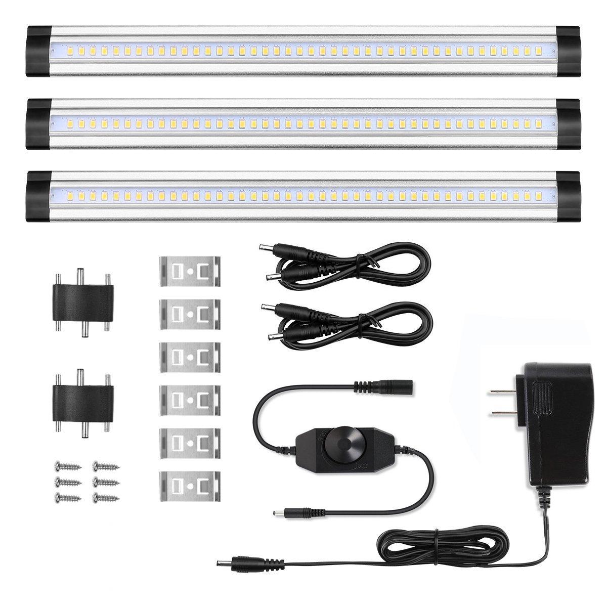 調光機能付きunderリンク可能な[ 3パック]カウンタキッチンキャビネット照明、LEDライトストリップ、12 W 900ルーメン、暖かいホワイト3000 K B07BVFG871 22209