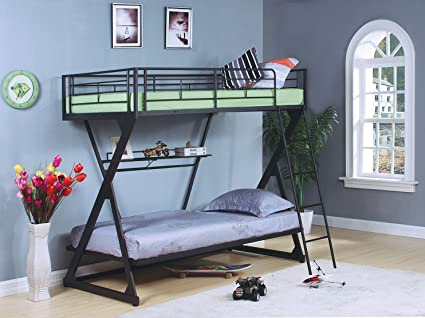 Amazon Com Acme Furniture 37132 Zazie Twin Over Twin Bunk Bed With