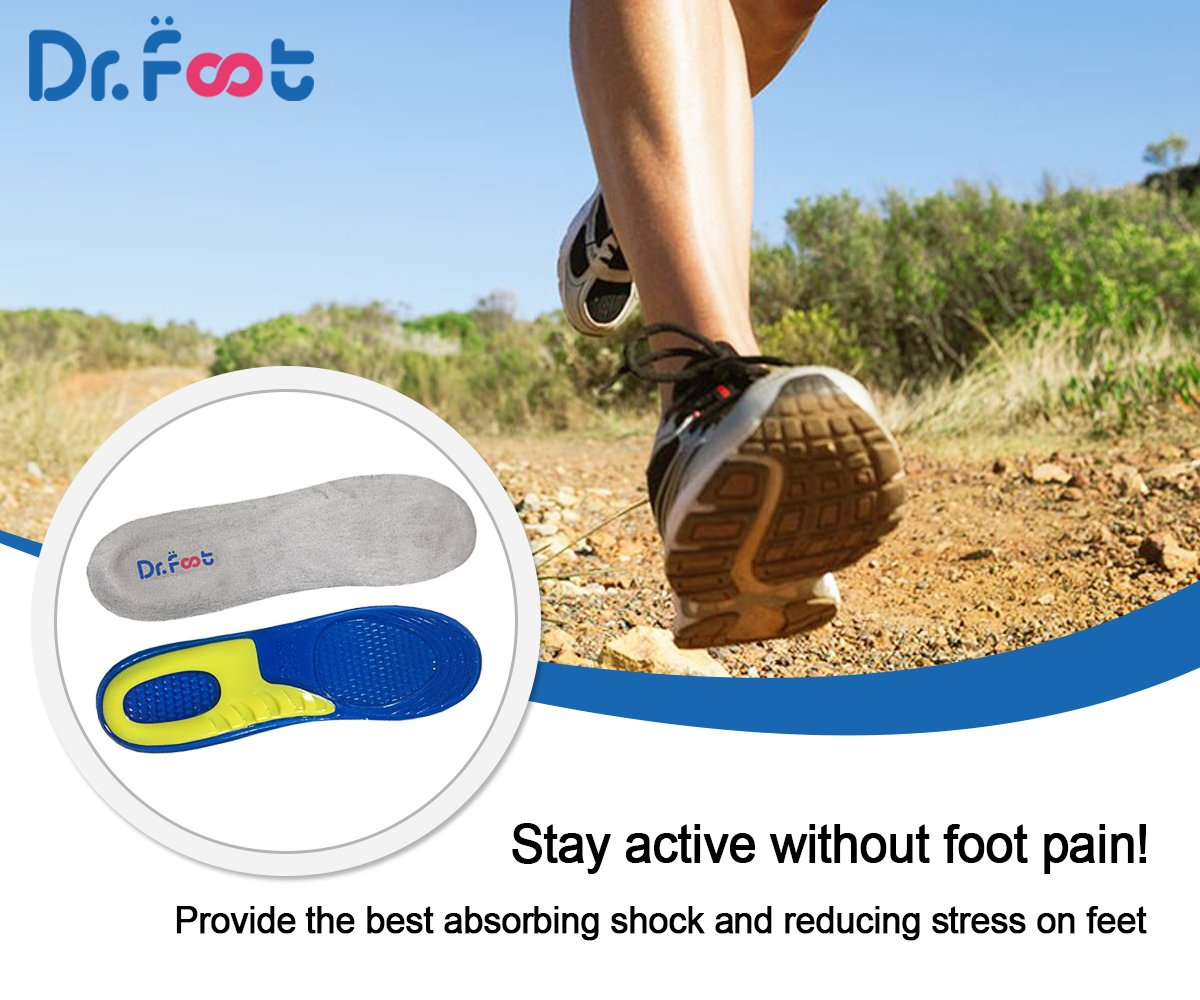 Dr. Foot\'s Sports Insoles, GEL Insoles for Shock Absorption, Heel Protection, Relieve Foot Pain, Heel Pain and Against Plantar Fasciitis for Men and Women (M | 6~10 US Women\'s, Yellow+DK Blue)