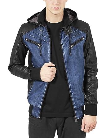 1dbaf2e6c Urban Classic Men's Hooded Denim Leather Jacket