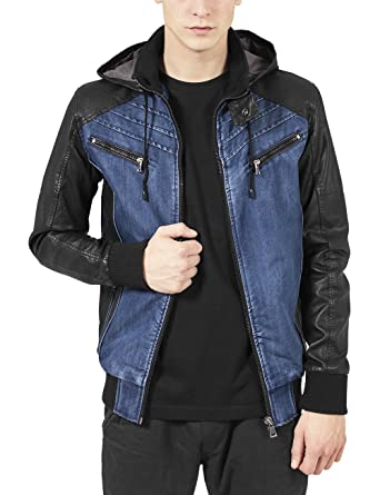 Urban Classics - HOODED DENIM Faux Leather Jacket denim blue at ...