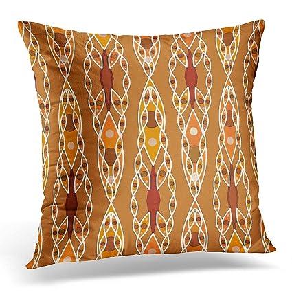 Amazon Emvency Throw Pillow Cover Orange Inspired Tribal Batik Gorgeous Terracotta Decorative Pillows