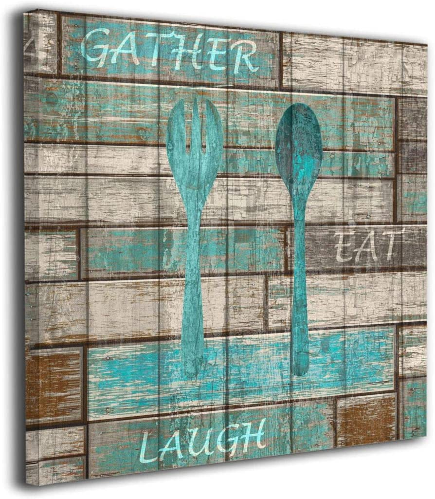Kingsleyton Teal Brown Rustic Kitchen Modern Canvas Wall Art -Teal Brown Rustic Kitchen - Giclee Print Gallery Wrap Modern Home Decor Ready to Hang 12