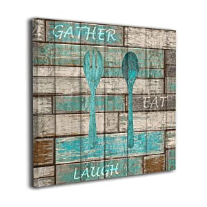 """Kingsleyton Teal Brown Rustic Kitchen Farmhouse Chic Turquoise Distressed Wood Contemporary Painting Painting Picture Distressed Wood Wall Art On Canvas Artwork Framed Hanging Wall Decoration 20""""x20"""""""