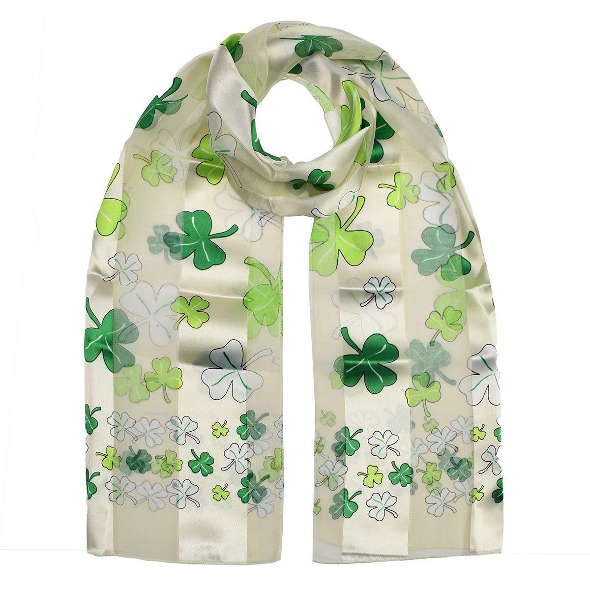 Shamrock Print Scarf Small Lucky Celtic Clover Irish ST Patrick/'s Day Scarves