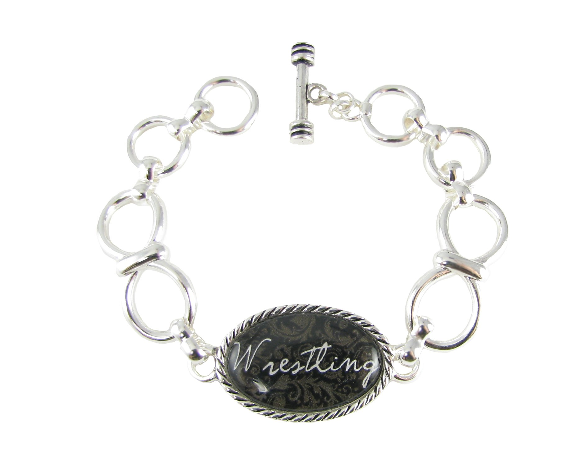 Wrestling Silver Infinity Chain Toggle Bracelet Jewelry Wrestler Coach Gift
