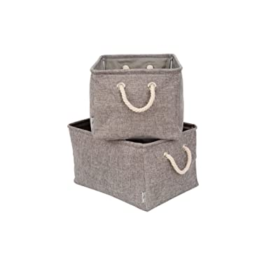 2Pack Foldable Storage Bins LARGE 17 x11.5 x9.5  Gray Premium Quality Collapsible Fabric Baskets With Rope Handles For Home Office Closet Nursery