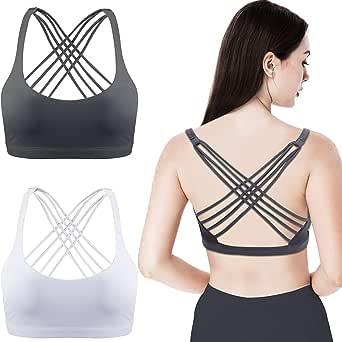 Patelai Pack de 2 para Mujer Sujetador Deportivo Acolchado Sujetador de Espalda Cruzada Sujetador de Tiras Sujetador inconsútil y cómodo de Yoga: Amazon.es: Ropa y accesorios