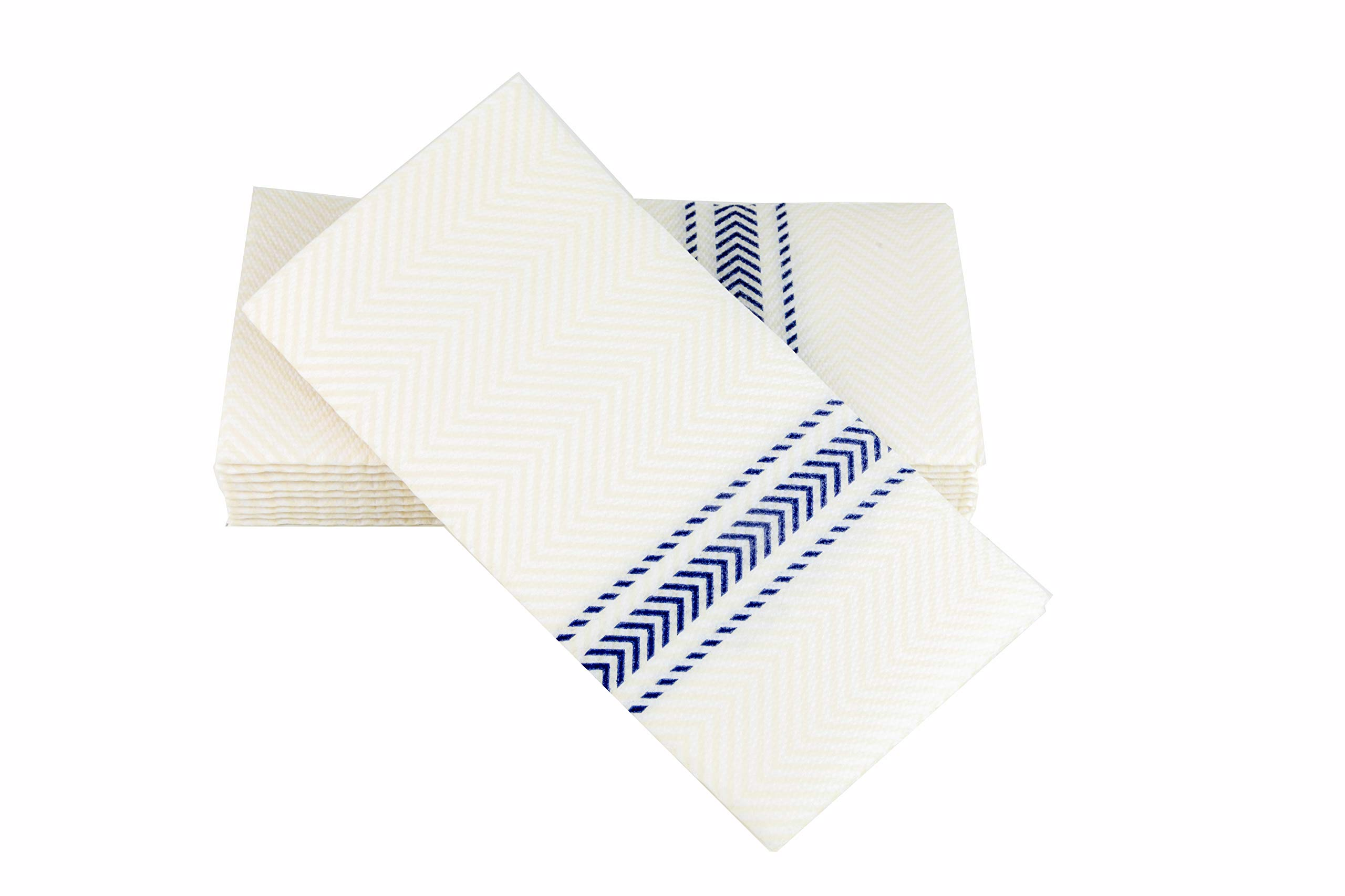 ClassicPoint Dinner Napkins -Blue Bistro Stripe - Decorative & Disposable Bistro Napkins - Soft, Absorbent & Durable (15.5''x15.5'' - Box of 50)