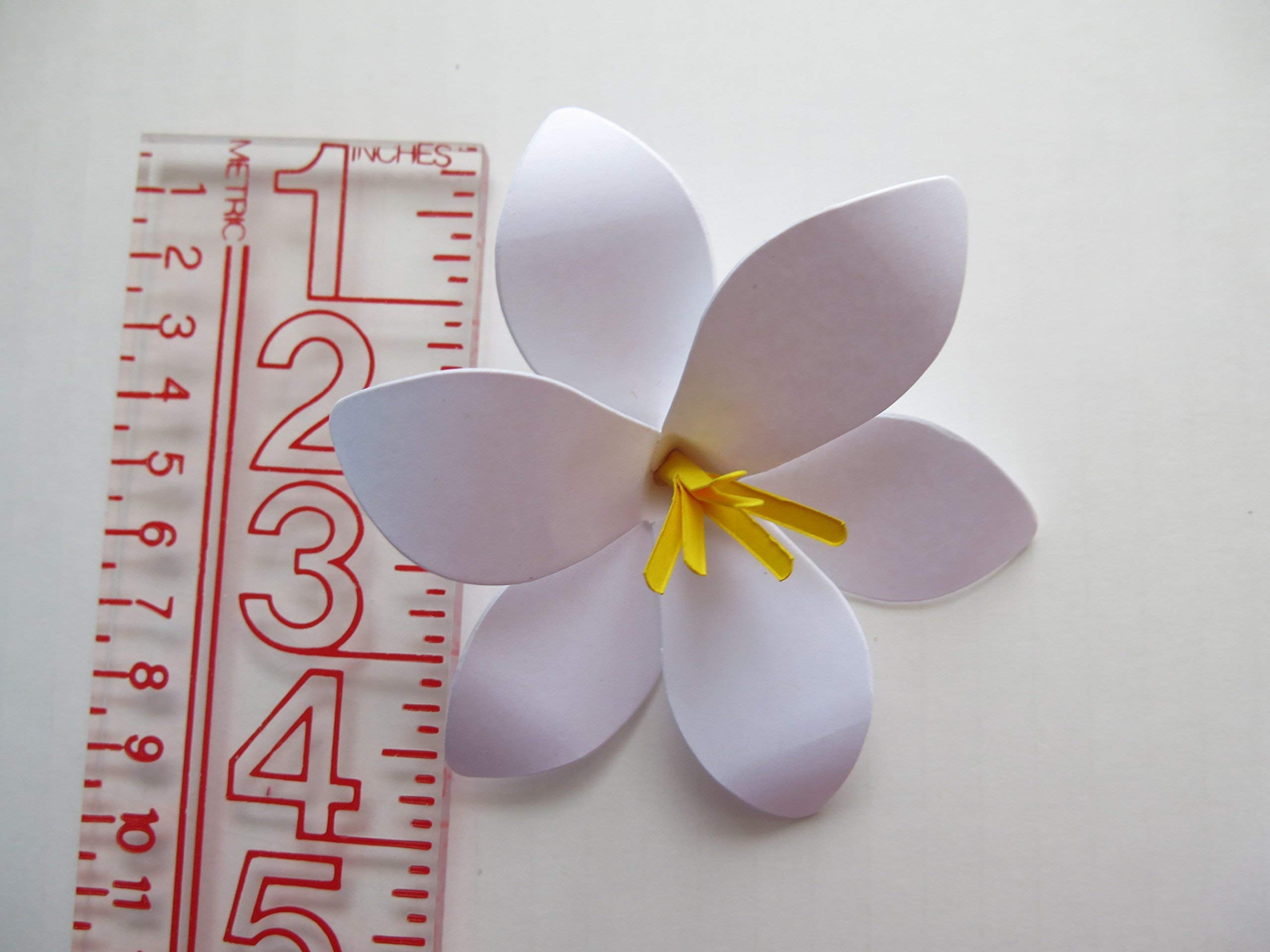 6 Stemmed Paper Flower Easter Lilies, Spring Floral Bouquet, White Lily, Sculpted Petals, 4 Inches Across