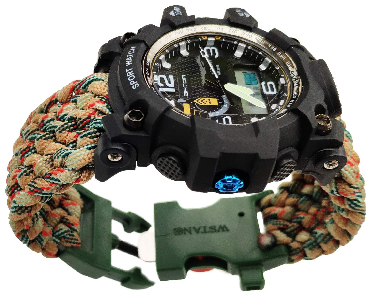8'' Green Camo Handmade 550 Paracord Bracelet Watch Compass Water Resistant Date&Day Stopwatch Chronograph Alarm LED Backlight