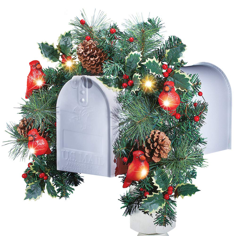 Christmas Mailbox.Collections Etc Cardinal Solar Christmas Mailbox Swag