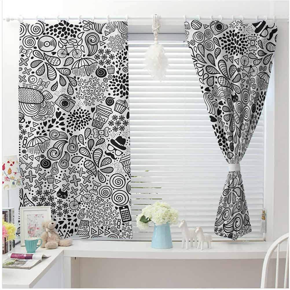 dsdsgog Light-Weight Doodle,Hipster Inspired Abstract Drawing Cupcake Tea Umbrella Leaves and Many Other Shapes Black White 53x79 for Girl Boys Daycare Preschool Lightweight
