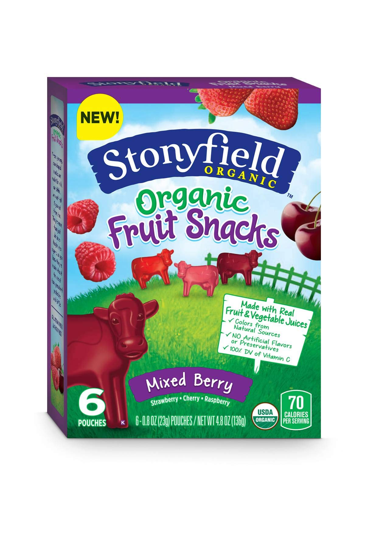 Stonyfield Organic Fruity Cows, 6 Count (Pack of 8)