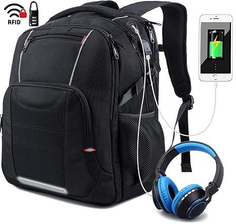 Mochila Portatil 17 Pulgadas Impermeable Puerto USB,Mochila para Portátiles Escolares,Trabajo Ordenador Viaje
