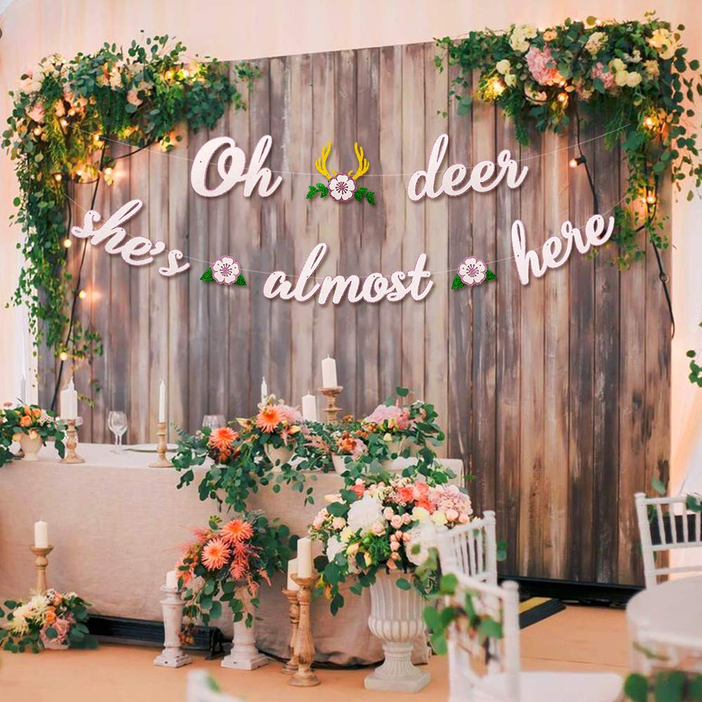 Deer Baby Shower Banner Oh Deer She's Almost Here Banner with Deer Antler and Flowers Boho Floral Themed Party Decor Woodland Animal Baby Shower Pink and White Decoration Homemade by Faisichocalato (Image #5)