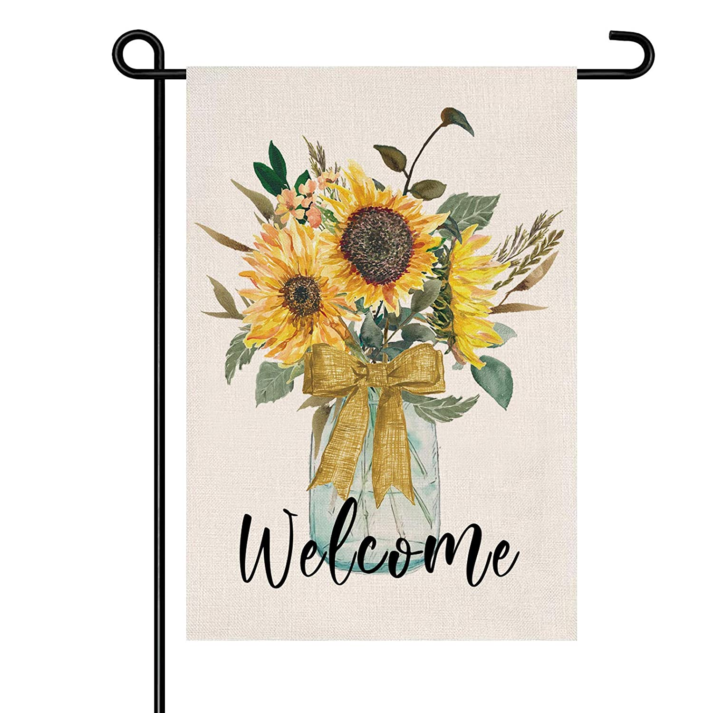 Spring Summer Garden Flag 12x18 Inch, Waterproof Double Sided Sunflower Welcome Garden Flag for Yard Farmhouse Decor