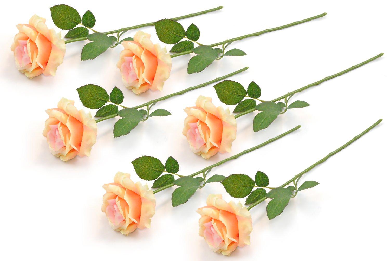Amazon Dii 6 Piece Artificial Open Rose Natural Silk Flowers