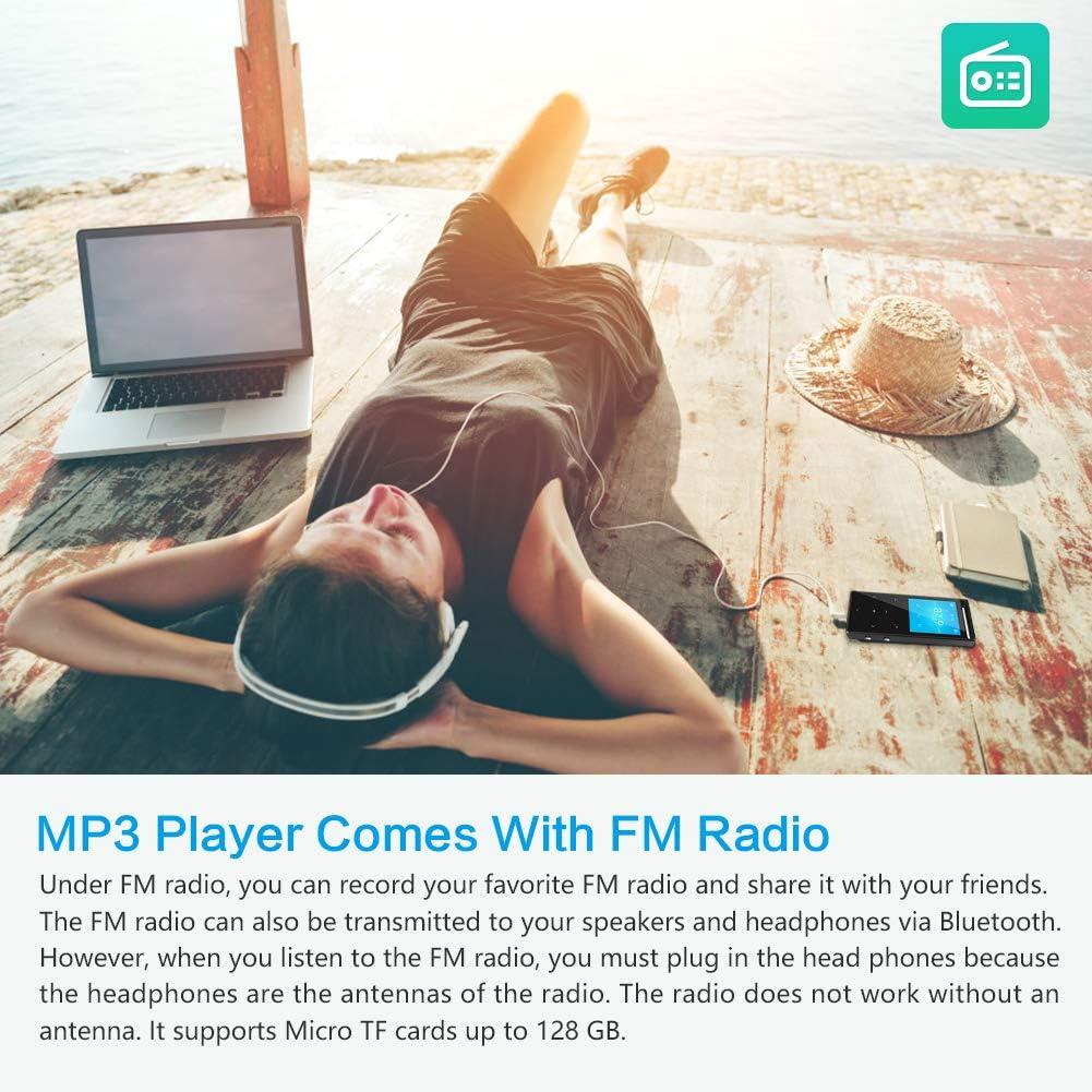 Armband Zufallswiedergabe Schwarz Sleeptimer Schrittz/ähler Matt MUSRUN MP3 Player mit Bluetooth FM-Record 64GB MP3-Player FM HiFi AUX-Record