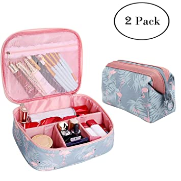 5a406ecf02d3 Amazon.com   2 Pcs Toiletry Bag Multifunction Makeup Cosmetic Bags Organizer  Portable Travel Cube Case for Women Large Make-up Brushes Pouch (Blue  Flamingo) ...