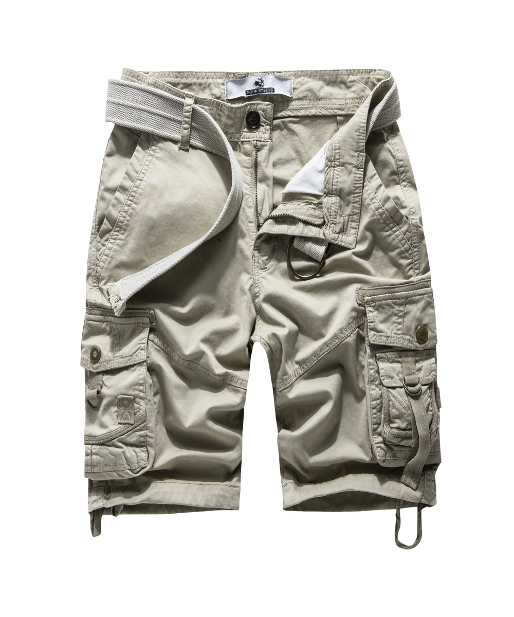 FOURSTEEDS Women's Cotton Relaxed Fit Casual Multi-Pocket Tiwll Bermuda Cargo Shorts Khaki US 12