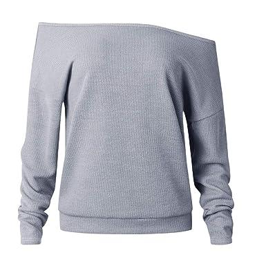 Damen Sweatshirt Beikoard Frauen Langärmlige Bluse mit One-Shoulder-Strick  Frauen Mode Frauen Gestrickte cf42125910