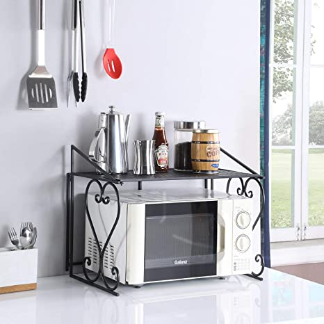 DAZONE Metal Microwave Rack Shelf Kitchen Counter and Cabinet Shelf (Black)
