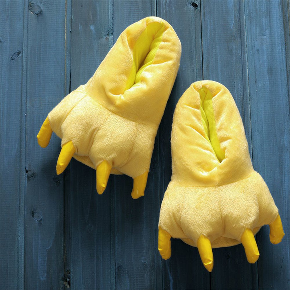 MiziHome Unisex Soft Paw Claw Home Slippers Animal Costume Shoes Yellow S by MiziHome (Image #1)