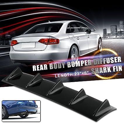 "Carbon Fiber Style 23/"" x 6/""  5 Shark Fin Wing Universal Rear Bumper Lip Diffuser"
