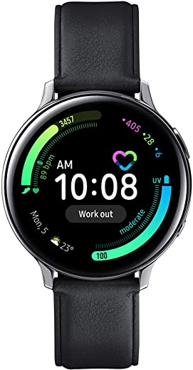 Samsung Galaxy Watch Active 2 (Bluetooth + LTE, 44 mm) - Silver, Steel Dial, Leather Straps