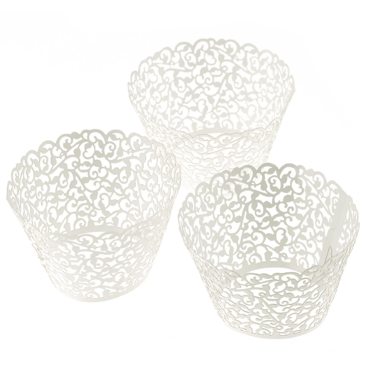 LEFV™ 24pcs Cupcake Wrapper Filigree Little Vine Lace Laser Cut Liner Baking Cup Muffin Case Trays Wraps Wedding Birthday Party Decoration White