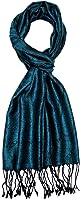 LORENZO CANA - Luxus Herrenschal Seidenschal Schal 100% Seide jacquard gewebt Ton in Ton 35 x 160 cm Paisley Seidentuch Seidenpashmina Petrol 7840611