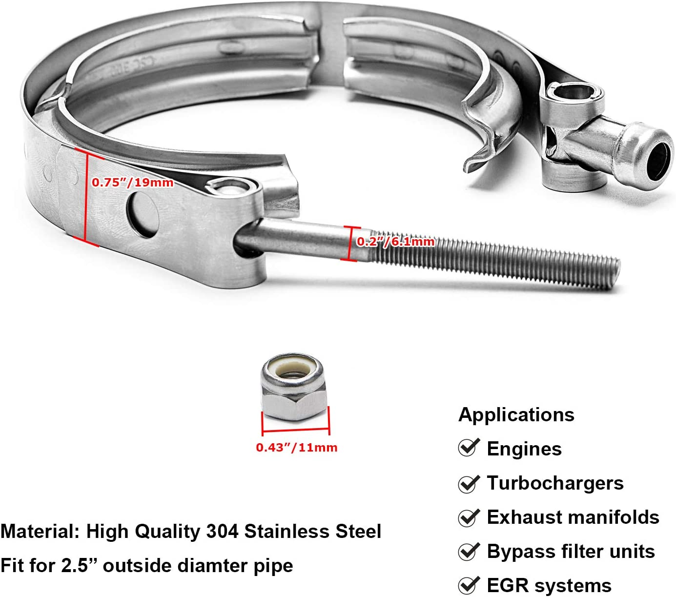 Exhaust Systems PTNHZ Universal Stainless Steel 2V Band Clamp For Turbo 2.0//2.5//2.75//3.0//3.25//3.5//4.0 Downpipes