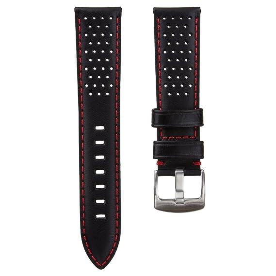 e16ffadb5 Genuine Cuero Perforado Correa de Reloj, Negro, Rojo, 22mm: Amazon.es:  Relojes