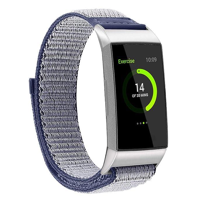 Darringls_Correa para reloj,Para Fitbit Charge 3 Pulsera de Repuesto de Nylon Respirable Banda Deportiva con Cierre Ajustable: Amazon.es: Ropa y accesorios
