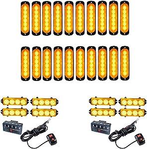20PCS Ultra Slim 6-LED 18W Emergency Hazard Caution Surface Mount Strobe Light & 8pcs 4-LED Car Truck Grille Deck Dash Flashing Light Control Box- Amber