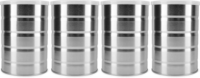 Cornucopia Empty Coffee Cans (4-Pack); Metal Cans for Kitchen Storage, Coffee Packaging and Arts & Crafts