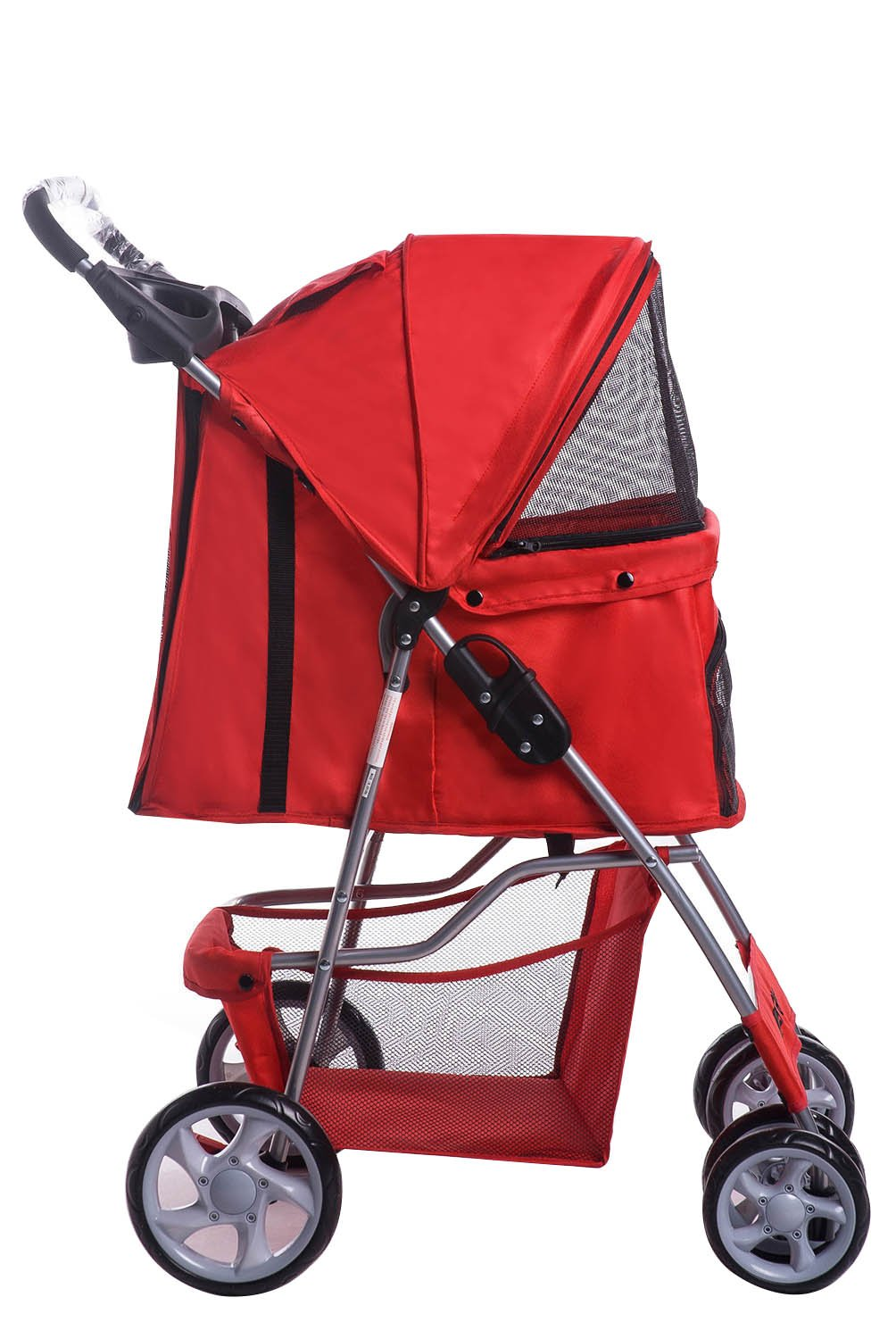 Merax Red Four Wheels Folding Pet Stroller Travel Carrier (Red)