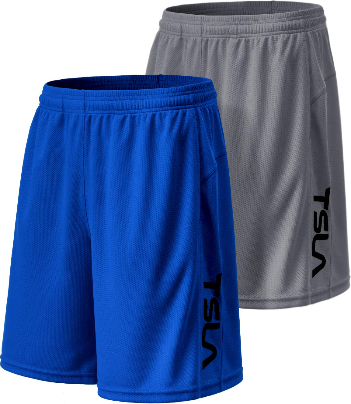 TSLA Men's HyperDri Cool Quick-Dry Active Lightweight Workout Performance Shorts (Pack of 2), Hyper Dri Dual Pack(mbh22) - Grey/Blue, Small