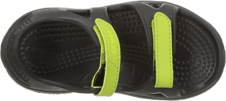 9 M US Toddler Crocs unisex-kids Swiftwater River Sandal Sandal black//volt green