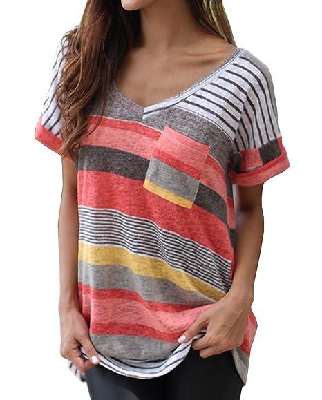OUFour Verano Camisetas Mujeres Tops Camisa Rayadas Patchwork Elástico Casual Manga Corta Cuello V Blusa Jerseys