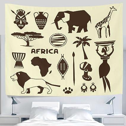 ALAZA antiguo arte étnico Tribal egipcio mujer africana máscara de elefante LEÓN jirafa tótem tapiz colgar