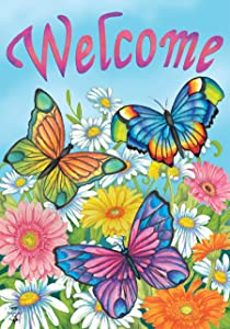 Briarwood Lane Spring Butterflies Welcome House Flag Floral 28