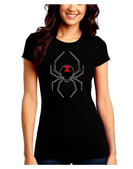 Black Widow Spider Design Juniors Crew Dark T Shirt