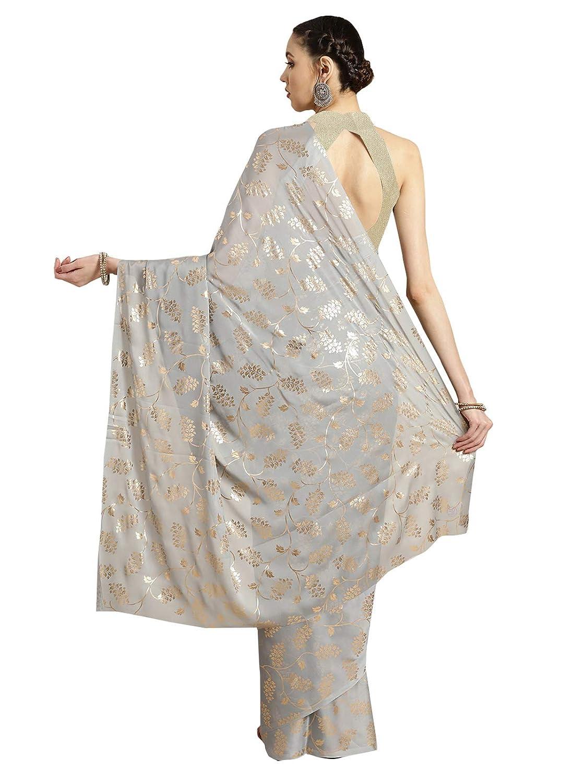Best Georgette Grey Foil Printed Women's Saree
