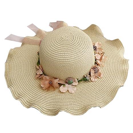 Guiran Donna Bambina Cappello Fiori Cappello di Paglia A Tesa Larga  Protezione UV Estate Spiaggia 40ef0f909664