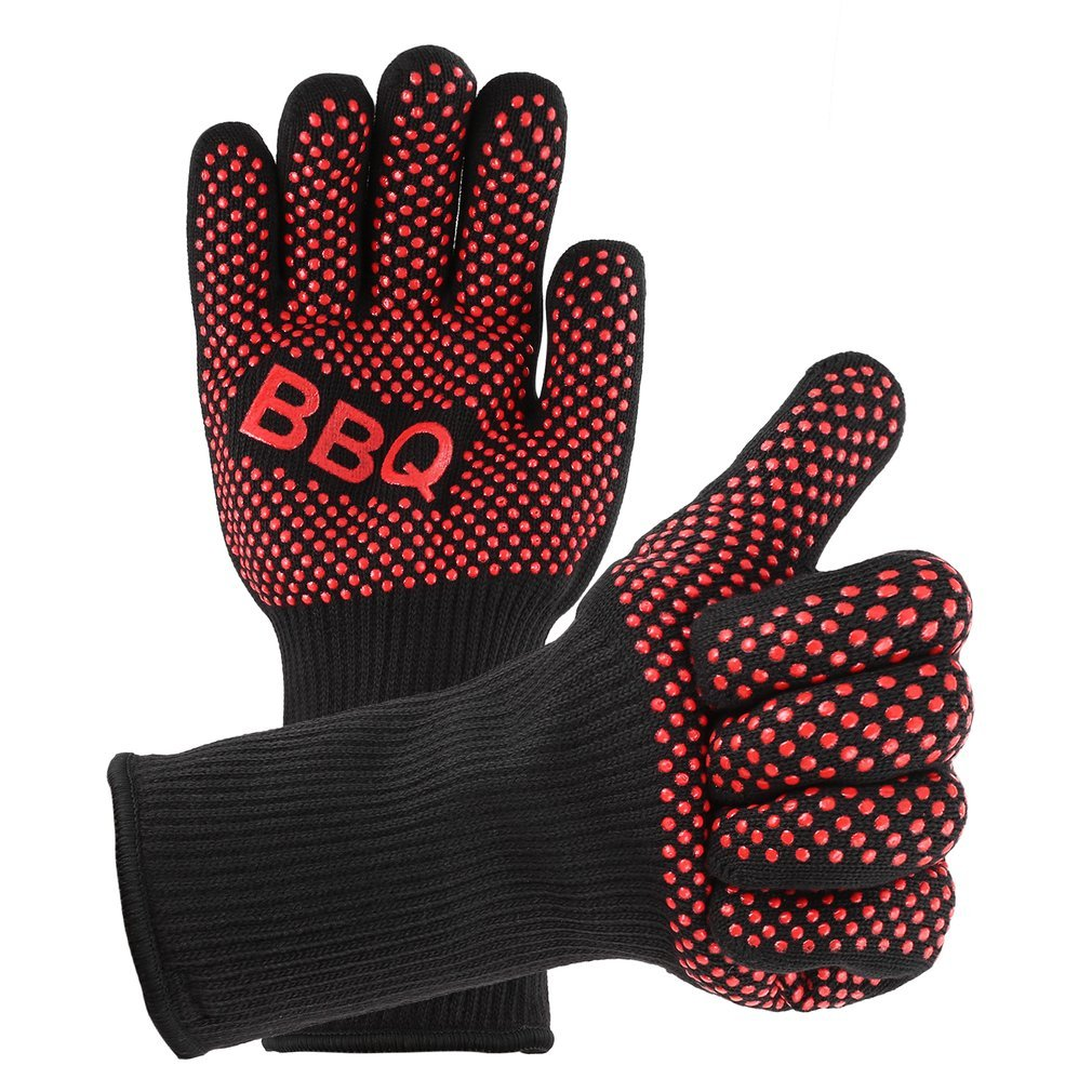 Silicone BBQ Gloves Heat Resistant Oven Mitts Non-slip Potholder with Extended Forearm Protection Ove Gloves for Barbecue, Cooking, Baking ,Grilling Revolveryy
