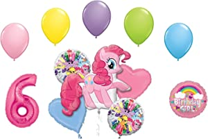 My Little Pony Pinkie Pie and Rainbow Dash 6th Birthday Party Supplies 12 Piece Mylar & Latex Balloons Set Latex and Mylar Balloon Set